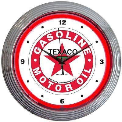 Texaco Gasoline Motor Oil Neon Clock 15x15
