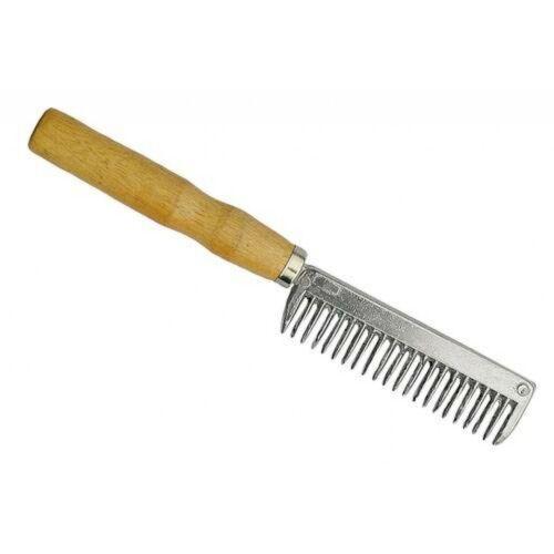 Metal Mane Comb with Wooden Handle