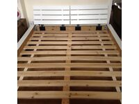 """4' 6"""" double bed. Has 3"""" plinth detail and slatted headboard painted white"""