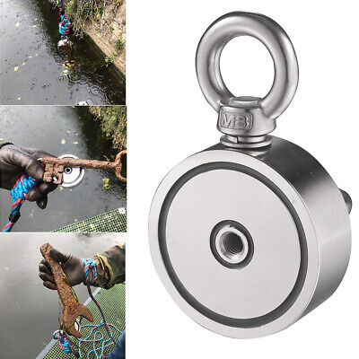 600lbs Salvage Strong Magnet Double-sided Neodymium Hook Treasure Fishing