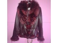 Italian coat real leather and fur from fox