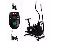 2-IN-1 ELLIPTICAL CROSS TRAINER & EXERCISE BIKE FITNESS CARDIO WORKOUT MACHINE