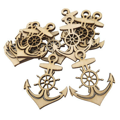 10pcs Anchor Wooden Tags Unfinished Wood Cutout Craft with String DIY Craft](Unfinished Wooden Anchor)