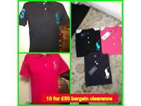 10 mens Ralph Lauren polos tshirt top for £50 set m l xl xxl bargain clearance