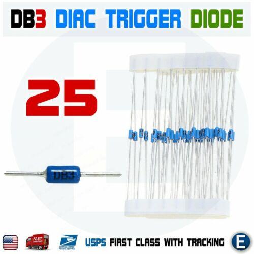 25pcs DB3 Diac Bilateral Trigger Diode Bidirectional Thyristor DB-3 DO-35 DO-204