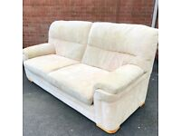 3 piece sofa suite - 3 seater Suede leather + 2 chairs ( delivery free )