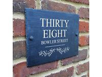Personalised Slate House Name Door Gate Number Sign Plaque A4 SIZED!