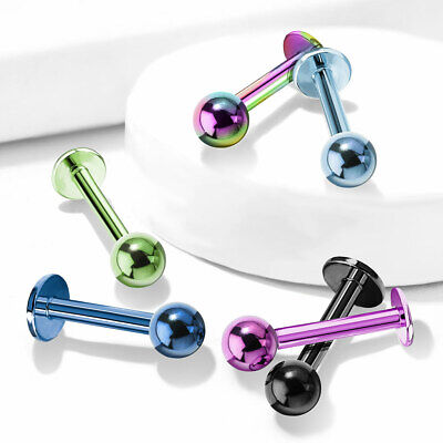 1pc Titanium Ion Plated Ball Labret 316L Surgical Steel Monroe Stud Lip Ring ()