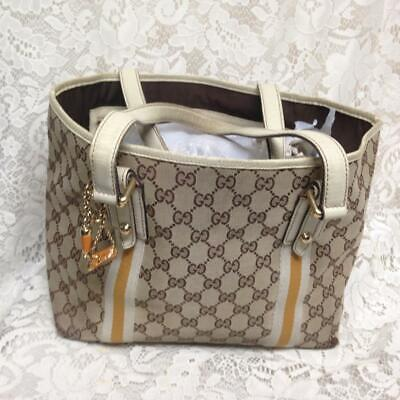 Vintage Gucci Italy Brown Mono with Yellow Trim Hand Bag 16in x 9in x6in(B)