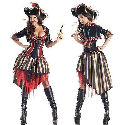 Neu Damen Piraten der Karibik Halloween Kostüm Kleid Kostüm Party - Piraten Der Karibik Kostüm Damen