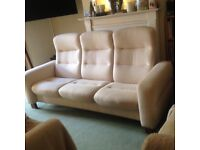 RETRO/VINTAGE DANISH STYLE STATIC PART RECLINING SOFA EXCELLENT PRELOVED CONDITION