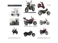 NEW AND PRE-REG MOTORCYCLES AND SCOOTERS FROM £1399 HONDA -YAMAHA-LEXMOTO-SINNIS-KIDEN ETC FINANCE