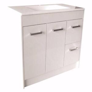 Vanité blanche 2 portes 2 tiroirs Luxo Marbre, Lavabo blanc inclus