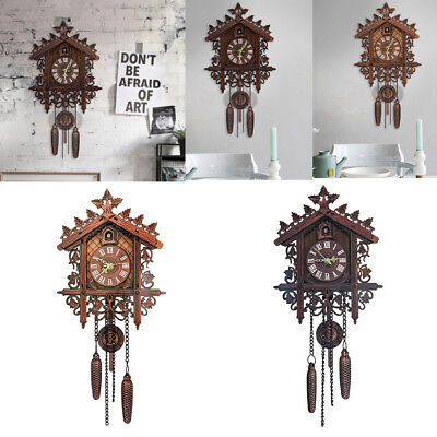 2Pcs Retro Wood Cuckoo Wall Clock with Pendulum Alarm Watch Decorations