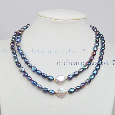 2 Rows 7-8mm Black Freshwater Pearl & 12-13mm White Coin Pearl Necklace 17-18'' 13mm Black Coin