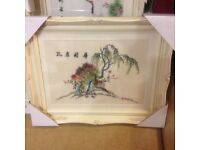 CHINESE SILK EMBROIDERED PICTURES - FANTASTIC DETAIL (2 AVAILABLE)