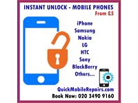 Mobile Phone Unlock All Models iPhone 5 6 7 8 X , Samsung S4 S5 S6 S7 S8 Note 8 LG HTC Nokia Sony