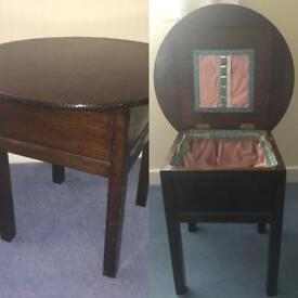 Vintage Sewing Table - 1930s 1940s Dark Wood Table with Round Top and Lined Compartment