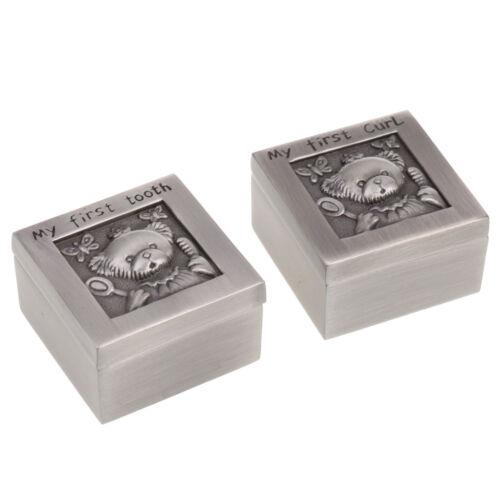 как выглядит Детская шкатулка Metal Bear My First Tooth and Curl Storage Box Keepsake Memorial Gift Silver фото