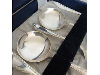 Vintage 1950s Set of 6 Silver Plated Soup Spoons stamped EPNS in display box