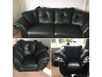 GREEN LEATHER THREE PIECE SUITE