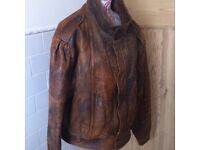 Beautiful Soft Luxury Real Leather Biker Style Men's Jacket Large L Size