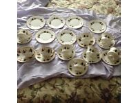 A Part Set of 6 Plates, 8 Cups (2 different shapes) & 9 Saucers of the Finest Bone China Sheridan