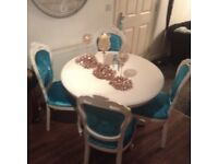 Blue velvet Rococo dining table and chairs