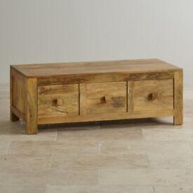 Solid Mango Oak 6 drawer Coffee Table