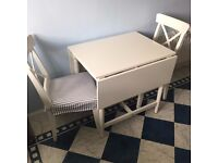 Fold up kitchen dining table - white complete with 2x chairs