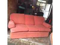 Red, three seater sofa