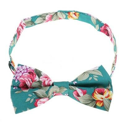 Hawaiian Shirt Bow Tie Light Blue Flower Floral BowTie Luau Hawaii US SELLER  - Lighted Bow Tie