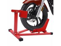 Motorcycle Front Wheel Chock bike stand scooter paddock garage FIT TO THE FLOOR OF A TRAILER OR VAN