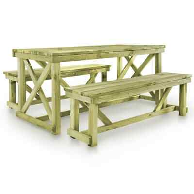 Kiefer Gartenmöbel (vidaXL Kiefer Imprägniert Gartenmöbel 3-tlg. Bierzeltgarnitur Biertisch Bank)