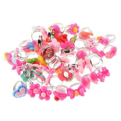 50pcs Kids Cartoon Rings Little Girl Cute Flower Rings Birthday Jewelry Gift](Little Girls Rings)