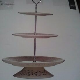 Tiered cream ceramic and metal fancy handled cake stand still boxed unused
