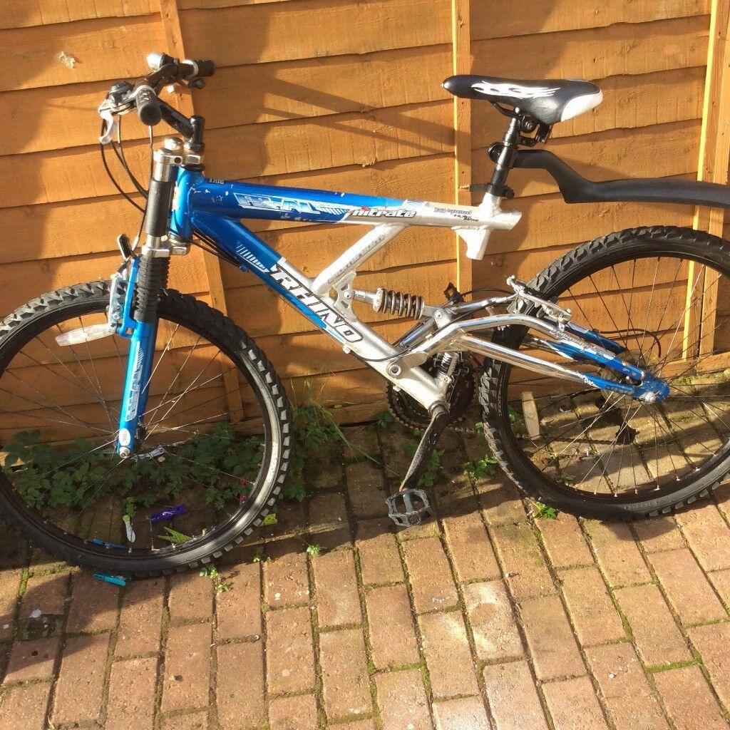 Gents mountain bike aluminium full shock suspension padded race seat rear hi rise mudgaurd