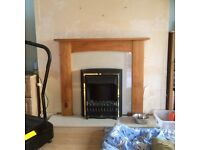 Solid marble fire place pine surround and electric fire