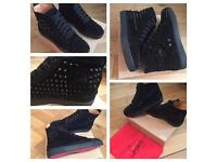Christian Louboutin Black Suede High Top Loubs Unisex Size 8 to 13 Trainers Shoes Box & Dustbag