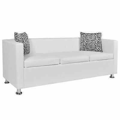Modern White Artificial Leather Sofa 3-Seater Living Room Furniture w/ 2 Pillows
