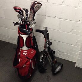 Golf clubs for sale left handed includes bag and trolley