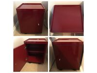 Contemporary Bedside Cabinets - Glossy Dark Red