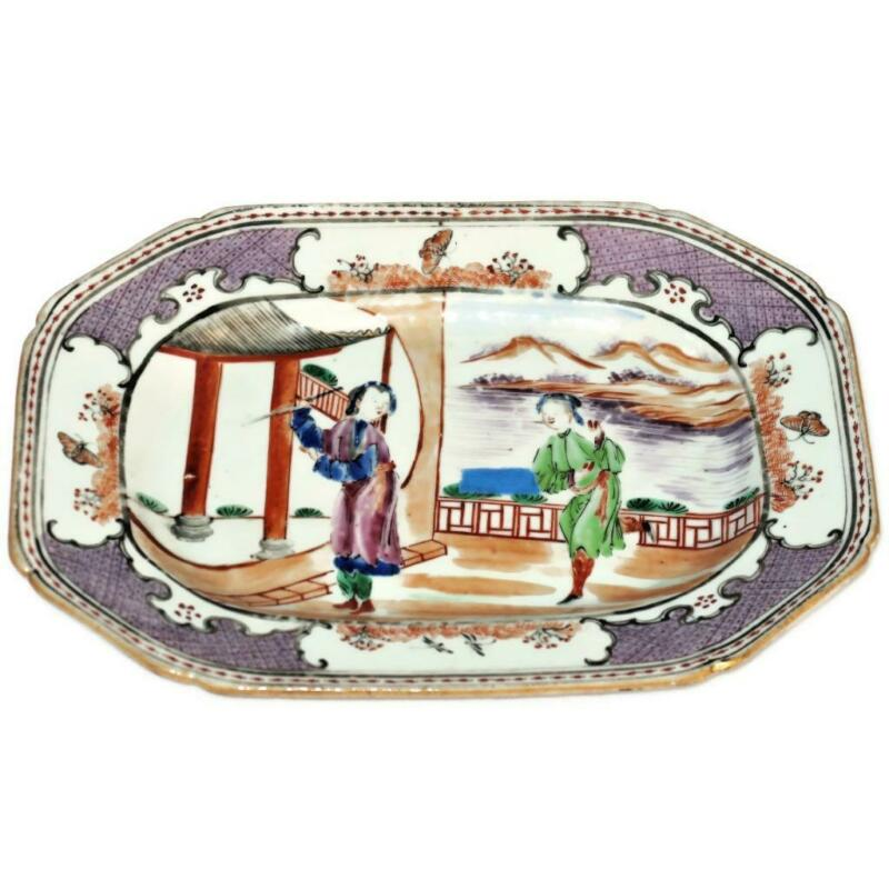 "Antique Chinese Export Porcelain Serving Rose Mandarin Palette Platter, 11"" x 8"""