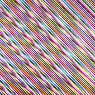 Thin Diagonal Stripes, Pink, Gold, Blue & Yellow, A FabriQuilt Cotton, BTY