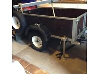 CAR/MOTORHOME TRAILER - Long A-frame drawbar, accessories and Pendle bike mounting. Excellent cond.
