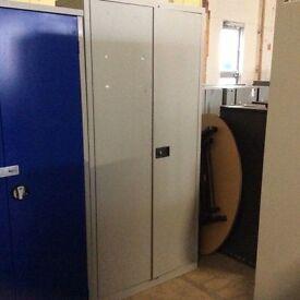 Tall Grey Two Door Metal Storage Cupboard
