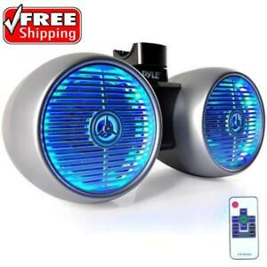 PYLE PLMRWB852LES DUAL 600 WATT 8'' MARINE TOWER SPEAKERS FOR YOUR WAKEBOARD MULTI-COLOR LED LIGHTS Silver
