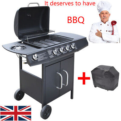 BBQ Gas Grill Stainless Steel Burners Garden Barbecue with 4+1 Burner Black UK