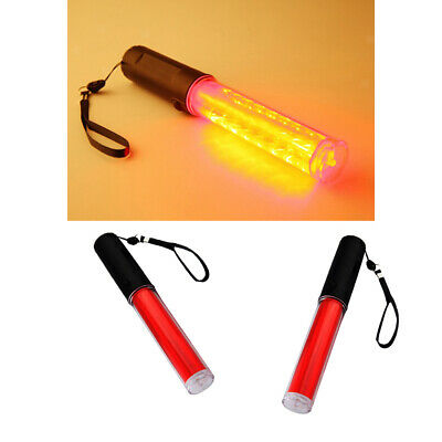 2pc 26cm Signal Traffic Wand Baton Led Flashlight With Two Flashing Mode
