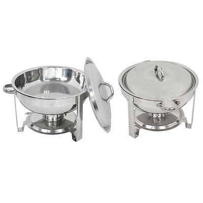 2 Pack Buffet Catering Stainless Steel Chafer Round Chafing Dish 5qt Party Pack